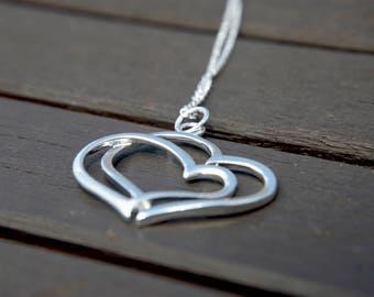 """Silver """"Two Hearts"""" necklace, Two hearts 925, silver plated necklace, love heart, Hearts pendant, 928 solid Sterling, Affordable, UK"""