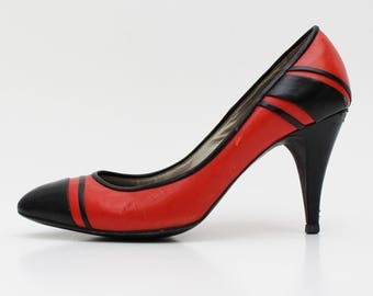 Red and Black Leather Pumps - Size 7 Ladies Shoes - Vintage 1980s Bandolino High Heels