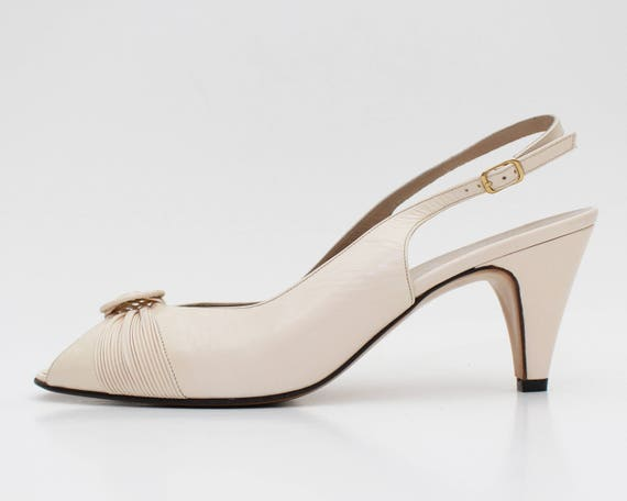 Bruno Magli Cream Leather Peep Toes - Size 7 - 8 Deadstock Sling Back Shoes - Vintage 1980s High Heel Shoes