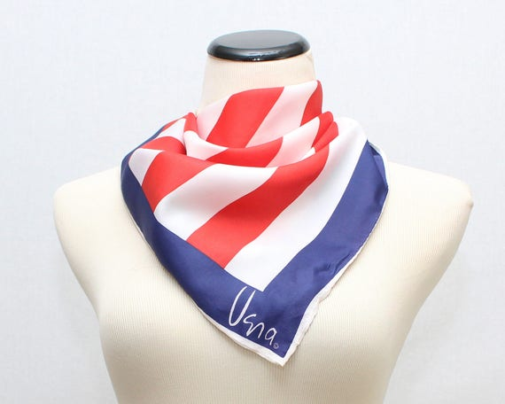 Vintage 1970s Red White and Blue Vera Scarf