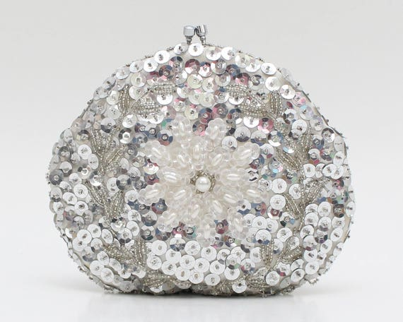Vintage 1960s Silver Sequin Pearl Evening Clutch