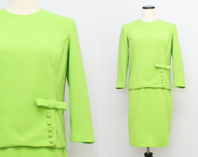 60s Lime Green Skirt Suit - Vintage 1960s Two Piece Skirt and Top