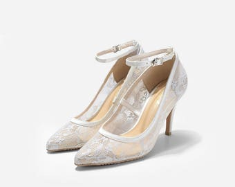 Charlize Custom Made Lace Heel, Lace Pointy Pumps, Ivory Lace Wedding Shoes, Ivory Bridal Heels