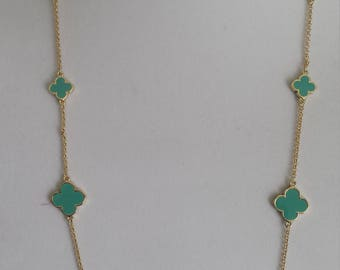 """Gold Plated Clover Necklaces, 36"""" Long, Turquoise color clover,four leaf clover,Mother's day gift"""