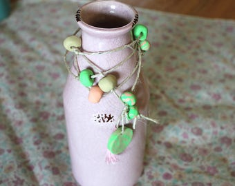 Clay hanging decor green and pink