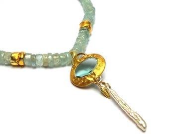 Aquamarine Pendant - Gold Pendant - 24 K Gold Pendant - Gold Necklace - Aquamarine Necklace - Free Shipping!!!