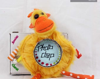 Plush camera lens, giraffe, colorful and funny