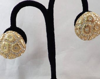 1980s Vintage Carlisle Clip Earrings Gold Tone with Rhinestones