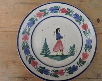 Vintage Henriot Quimper Pottery - Hand Decorated Folk Art Pottery Side Plate - Breton Faience Henriot Ironstone Plate- Quimper Decoration