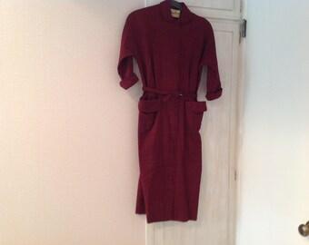Vintage 50s dress, maroon wool blend, tailored look