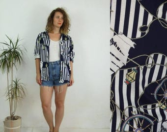 ON SALE 70's vintage womens blue-white sailor patterned shirt
