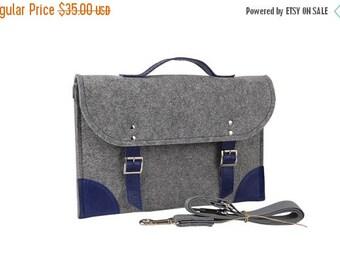 SALE Felt Laptop bag 15 inch with pocket, sleeve, Macbook Pro 15 inch, Laptop case, grey felt and blue leather