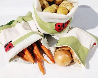 reusable grocery bags. Bulk shopping bag, market bag, bulk bin bag, bulk cloth bag