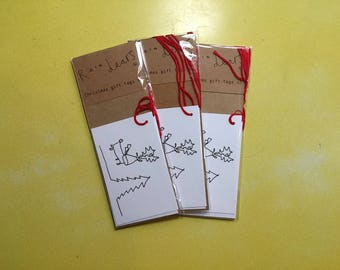Luxury Christmas Gift Tags pack of 5- Rein Dears- Illustrated/  Handdrawn -Minimal Cute