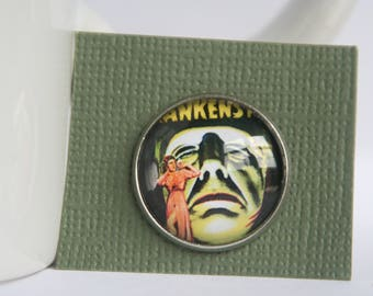 16mm 18mm Glass Cabochon Frankenstein's Monster Pin Tie Tack Stainless Steel
