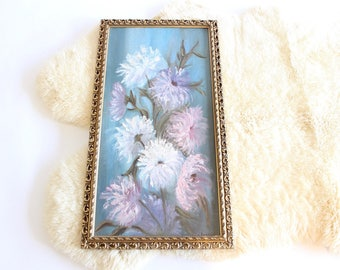Large Vintage Oil Painting Flowers Purple Blue Pink and White Gold Frame Original Artwork