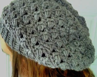 Gray slouchy hat, crochet slouchy hat, women's slouchy beanie, women's winter hat, made to order slouch hat, boho hat, slouchy beanie