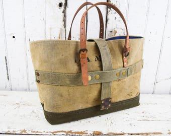 US MILITARY Bag Tote WWII Era Repurposed  Mens Unisex Rugged Bags