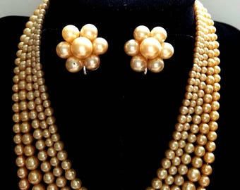 Champagne Faux Pearl Necklace & Earrings, Five Strand, Vintage Costume Jewelry, Demi Parure