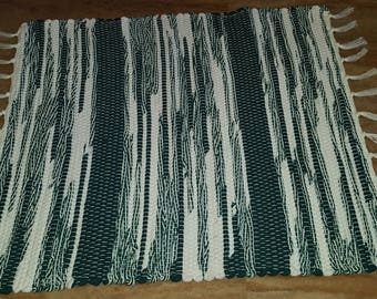 Green and White Rag Rug