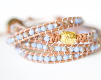 Tan Leather Wrap Bracelet Bohemian Jewelry Boho Brown Boho Fall Fashion Leather Bracelet Beaded Bracelet Wrap Autumn Jewelry Buddha Bracelet