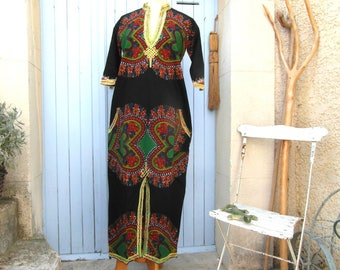 Vintage African tunic dress, djellaba caftan, hippie dress, boho dress, ethnic festival dress, beach dress, vintage clothing, retro clothes