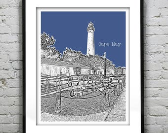 1 Day Only Sale 10% Off - Cape May New Jersey Poster Print Art NJ Shore Skyline Version 4