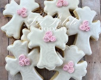 Christening / First Communion / Baptism Cross sugar cookies (1 Dozen)