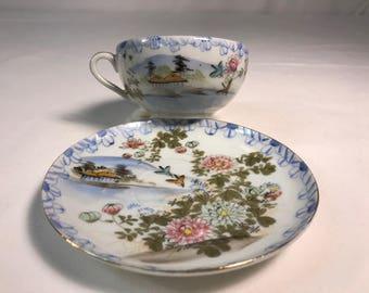 Japanese tea cup and saucer set