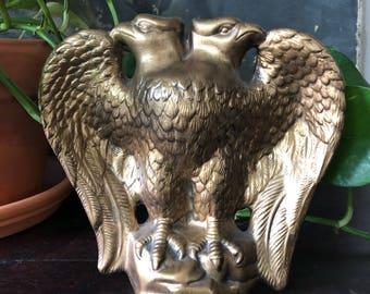 Mid Century Double Headed Gold Ceramic Eagle