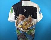 Hawk, delicate embroidery, thin fabric, vintage silk, Hawaiian shirt, Japanese vintage, US size L
