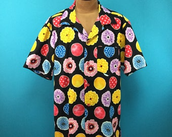 Hippie shirt, Boho, Unique pattern, Hawaiian shirt, Japanese fabric, US size L