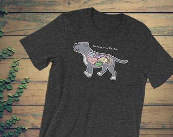 Anatomy of a Pit Bull - Funny Pit Bull Dog Tee - Dark Colors - Unisex Short Sleeve T-Shirt