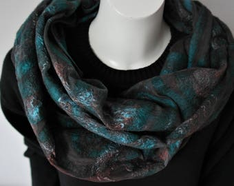 Nuno felt shawl. Silk, felt scarf green brown. Handmade for women.