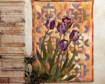 Hand painted fabric art quilt, wallhanging - Purple tulips