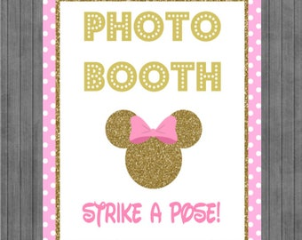 ON SALE!!  Mouse Birthday Sign, Photo Booth , Pink and Gold