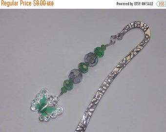 15%OFF Green Glass and Crystal Enameled Green Butterfly Bookmark