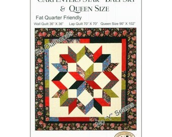 Carpenters Star - Bali Sky - & Queen Size Quilt Pattern by Debbie Maddy of Calico Carriage Quilt Designs