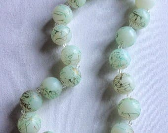 Necklace - A funky chunky pale green plastic necklace retro design large round patterned beads