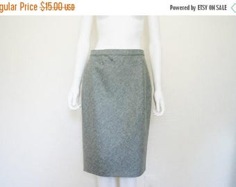 ON SALE DKNY Grey Wool Cashmere Skirt / high waist midi skirt / career skirt / 90's minimalist women's clothing