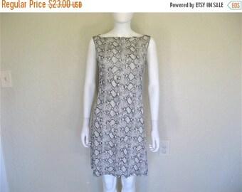 25% off SALE Grey Snakeskin Print Slinky Sleeveless Dress - size Large