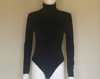 25% off SALE Black Turtleneck bodysuit - Walford opaque naturel