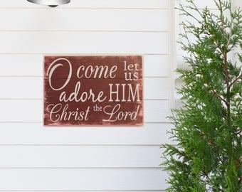 O Come Let Us Adore Him Wood Pallet Sign Christmas Decor Christmas Mantel Decor Christian Wall Decor Wood Sign