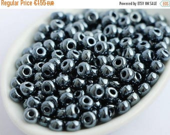 ON SALE -15% Czech Seed beads size 05/0 20g Gunmetal Hematite Gray Preciosa Rocailles size 5