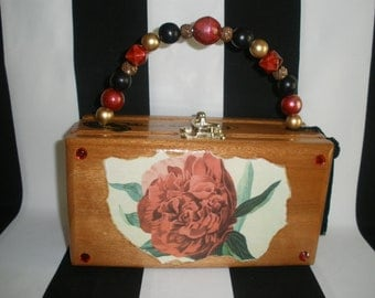 A Rose is a Rose Cigar Box Purse, Cigar Box Handbag, Red Velvet Lined, Authentic, Tampa