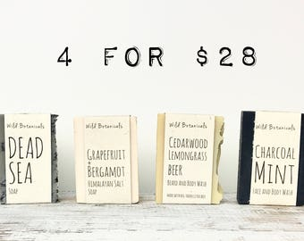 SUMMER SPECIAL - 4 Soaps, Gift Set, Four Soaps of Your Choice, All Natural, Unscented, Scented, Handmade