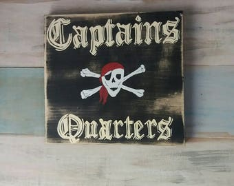 Captains Quarters sign, boys room sign, pirate decor, boys decor, nursery decor, pirate sign