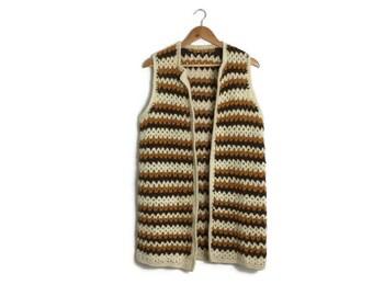70s Bohmeian crochet waistcoat / wool sleeveless coat / hippy mustard and cream retro crochet waistcoat / 70swoodstock / hand knitted 70s