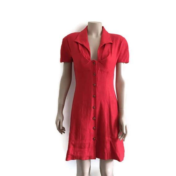 Vintage red dress / fitted red button up dress / red bombshell dress / retro red dress / chic linen dress / handmade dress / work wear /