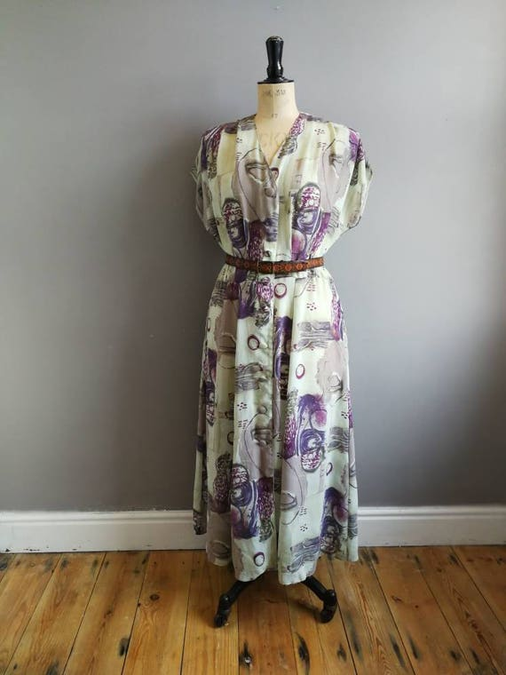 Sheer 90s button up dress / lime green and purple 90s dress / 90s grunge dress / 90s mom dress / boho grunge